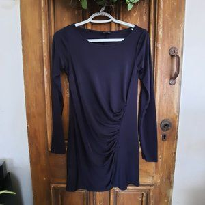 Club Monaco Ruched Front Long Sleeve Navy Dress